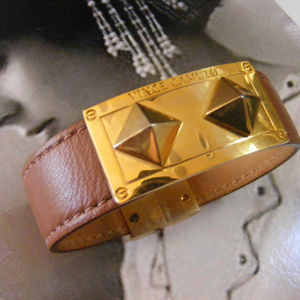 BRACELET VINCE CAMUTO Brown Leather Double spike
